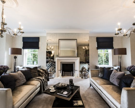 A Luxury Mansion Living Room With Feature Fireplace