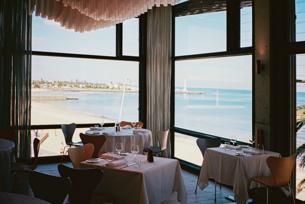 restaurant interior design with waterfront view