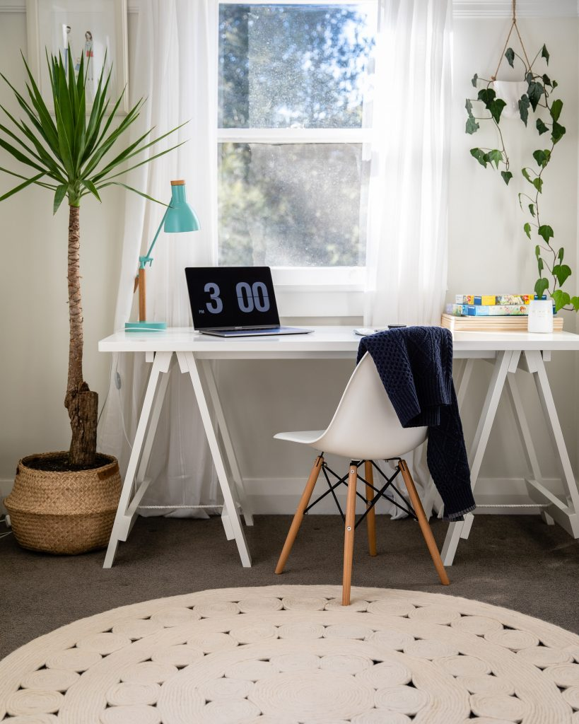 A small Home Office showcasing design elements to optimize the two very separate avenues for usage.